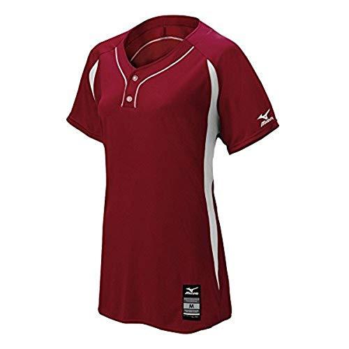 Mizuno Women's Elite 2-Button Game jersey, Maroon-White, EXTRA EXTRA LARGE (XXL)