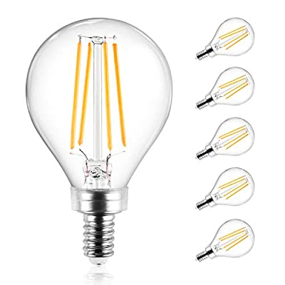 Ascher E12 Candelabra LED Light Bulbs 60 Watt Equivalent, 550 Lumens, Warm White 2700K, Decorative G45 LED Globe Bulbs, Filament Clear Glass, Non-Dimmable, Pack of 5