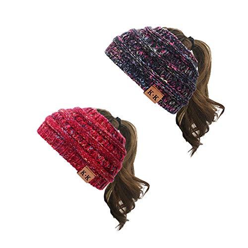 KQueenStar Damen Gestrickt Stirnband -1/2/3/4 Stück Elastische Häkelarbeit Headwrap Design Stirnbänder Winter Kopfband Haarband Crochet Headwrap Ohr Wärmer, Schwarz D, Einheitsgröße