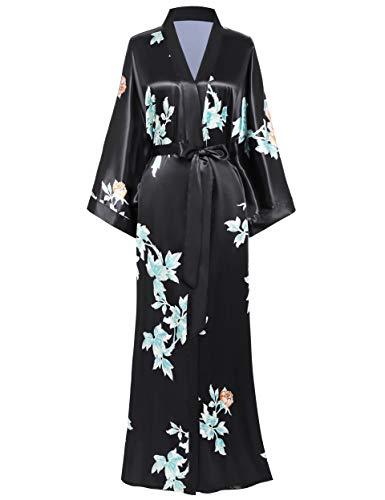 BABEYOND Damen Morgenmantel Maxi Lang Seide Satin Sommer Kimono Kleid Klassisch Blumen Muster Kimono Bademantel Damen Lange Robe Blumen Schlafmantel Girl Pajama Party (1-Schwarz)