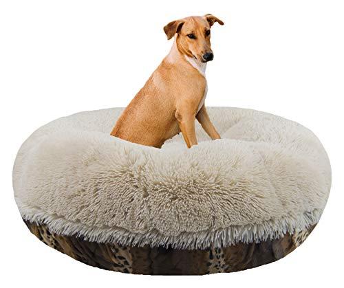 "Bessie and Barnie Signature Wild Kingdom / Blondie Luxury Shag Extra Plush Faux Fur Bagel Pet / Dog Bed (Multiple Sizes), L - 42"""