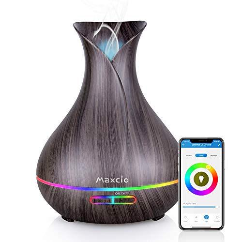WiFi Essential Oil Diffuser, Maxcio 400ml Smart Aromatherapy Diffuser Humidifier with Remote Control, Alexa & Google Home Compatible, Timer/Schedule Setting
