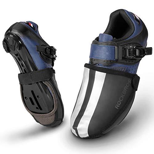 ROCKBROS Fahrrad-Schuhüberzieher, Thermo-Zehenschutzwärmer, wasserdicht, Fahrrad-Überschuhe für Herren und Damen, MTB, Rennrad, Schuhüberzug, Kevlar-Protektoren, Schwarz