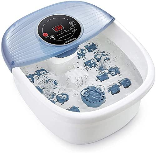 Baño de pies con calor y masaje, masajeador de pies con 16 rodillos de masaje, baño de...