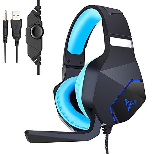 TAOXUE Gaming Kopfhörer Für PS4, Gaming Headset, PC Kopfhörer Mit Geräuschunterdrückung & Mic Weicher Gehörschutz Gaming Headset Für PS4 PC Mac Laptop,Blau