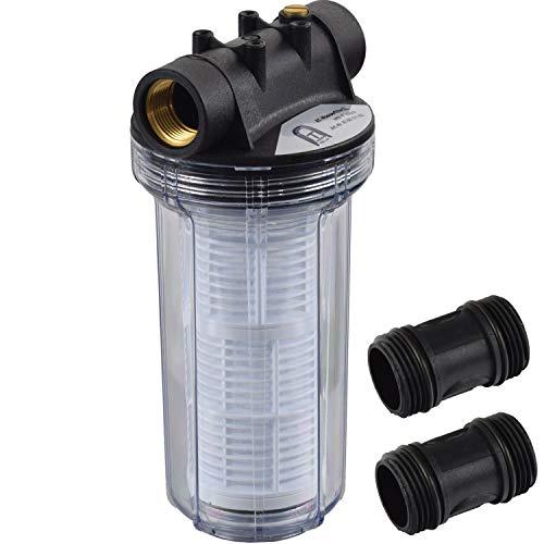 Agora-Tec® at-Wasserfilter 2L, mit Max. Betriebsdruck: 4 bar, Max. Durchflussmenge: 3000 l/h, Maschenweite Filtersieb: 0,2 mm, Anschlüsse: 1 Zoll (30,3 mm) IG Messingbuchsen