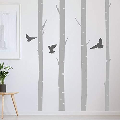 Stickers muraux en forme de bouleaux avec oiseaux - Pour salon