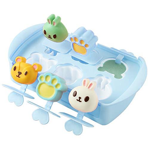 6 cavidades Moldes para polos de hielo de silicona Mini helado Molde de barra de silicona Moldes reutilizables hielo Molde para paletas para niños Bandeja de paletas de postre congelado Palo plano