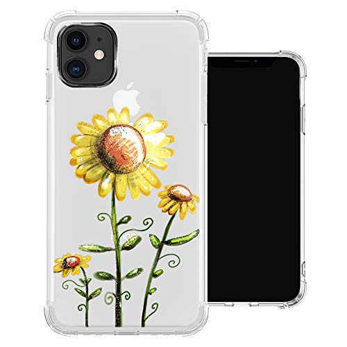 iPhone 11 Pro Max Clear Case,Three Sunflowers iPhone 11 Pro Max Shockproof Transparent Soft TPU Cases for Girls,[Camera Protection/Sound Conversion/Airbags Cushion] Cover Case for iPhone 11 Pro Max