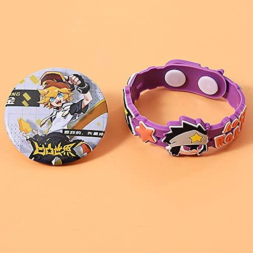 TTKAIDAN Aotu World Anime Pulsera de silicona Insignia temática de goma y pulsera de goma suave Pulsera de joyería suave Pulseras de goma Accesorios de cosplay Favores de fiesta de cumpleaños Adecuado