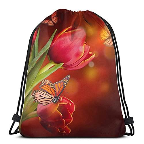 Lmtt Mochila con cordón Mochila deportiva Mochila de viaje Bolsa de viaje Ramo de tulipanes rojos y mariposas