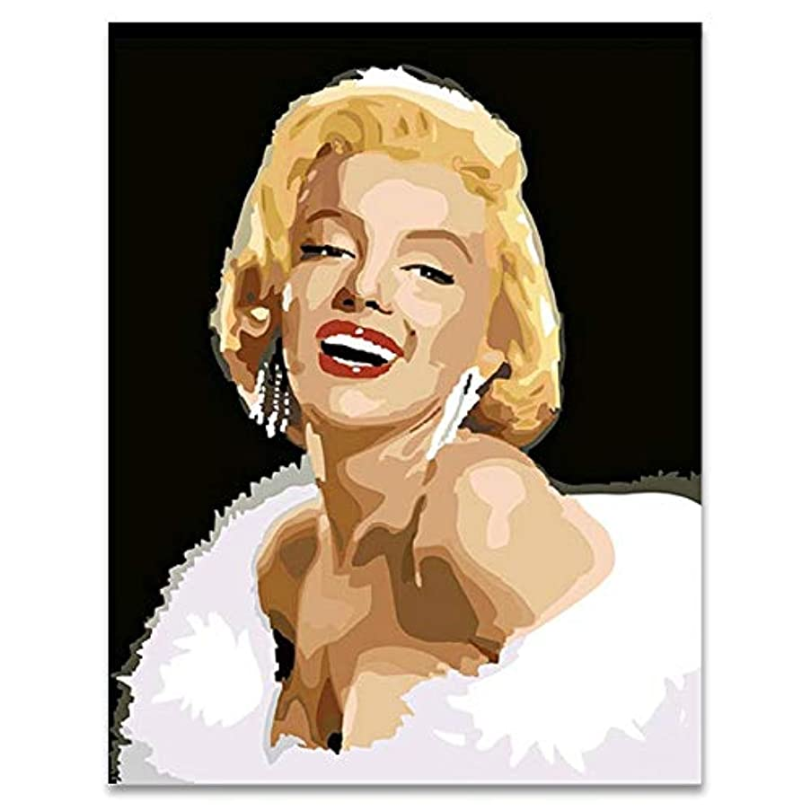 LIUDAO DIY Oil Painting Without Frame Paint by Numbers for Adults - Marilyn Monroe (16x20 inch)