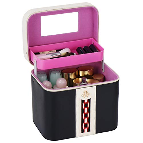 Make up Organizer, Tragbare Kosmetikbox, Multifunktionale Tragbare Aufbewahrungsbox mit Doppelhub Fach, für Aufbewahrung im Bad im Schlafzimmer von Lippenstift Schmuck Nagellack Nähgarn,Schwarz
