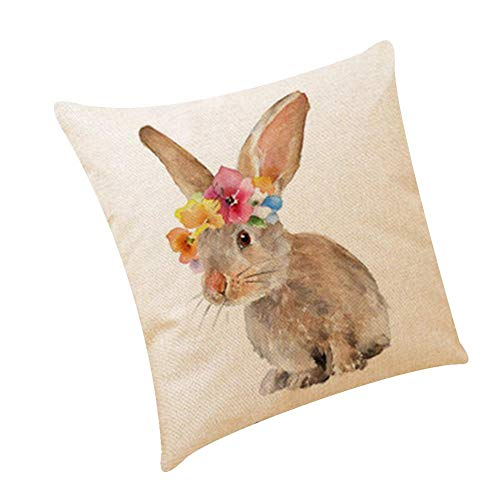 MIGUOR Square pillow covers Simple Easter cotton and linen pillowcase, linen car pillow, sofa cushion for Sofa Chair Bed Bench