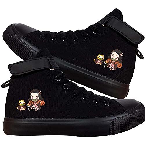 Vngbds Zapatos de Lona Demon Slayer Zapatos de Anime Zapatillas Altas Zapatillas de Suela de Goma for Estudiantes Casuales con Cordones Zapatos Planos para Estudiantes Adultos