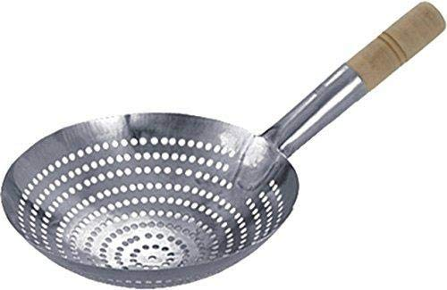 Depory Wok Colander Metal Colander with Wooden Handle, Stainless Steel, Silver, 30 x 8.5 x 52 cm