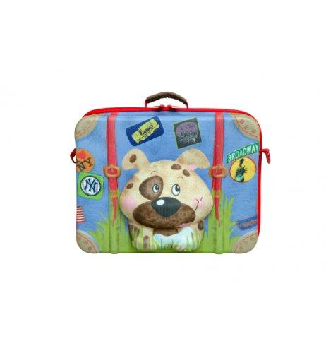 okiedog wildpack 80008 Kinderkoffer in 3D-Optik Hund, blau