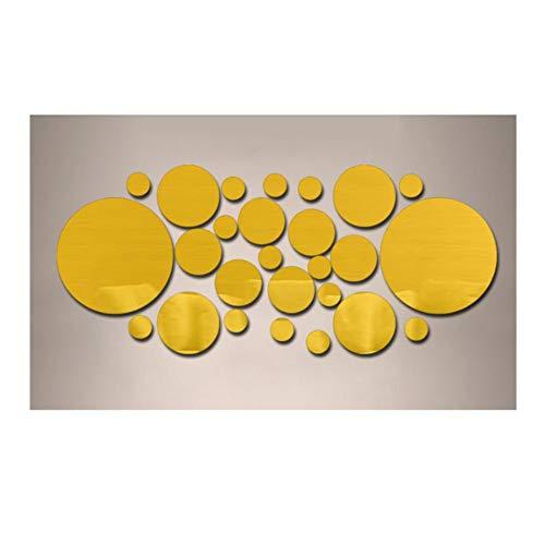 Ynnxia 26 STKS Stereo Stickers Behang Decals Acryl Spiegel Muurstickers voor Muur Yellow 3-15cm
