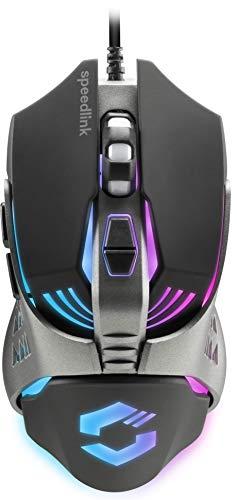 Speedlink Tyalo Gaming-Maus - Multicolour LED-Beleuchtung in metallischem Design, bis zu 3200dpi für Gaming, PC, Notebook, Laptop, schwarz