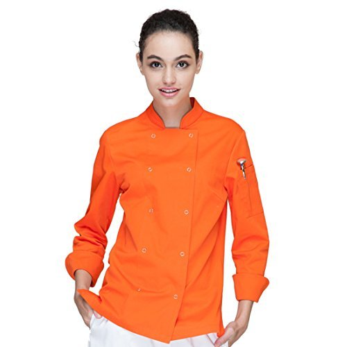 Cheflife colored chef uniforms long sleeve coat for women orange