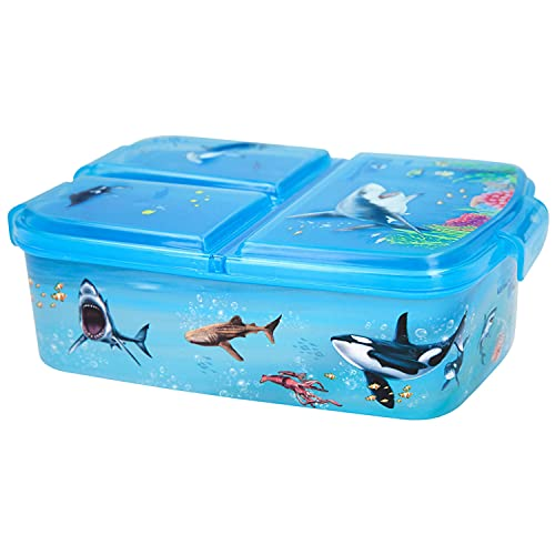 Depesche 11445 - Dino World Brot-Dose für Kinder aus Kunststoff, Lunchbox im Underwater Design, ca. 18,3 x 13,7 x 5,7 cm, unterteilt in 3 Fächer, praktischer Klippverschluss, ohne BPA und Weichmacher