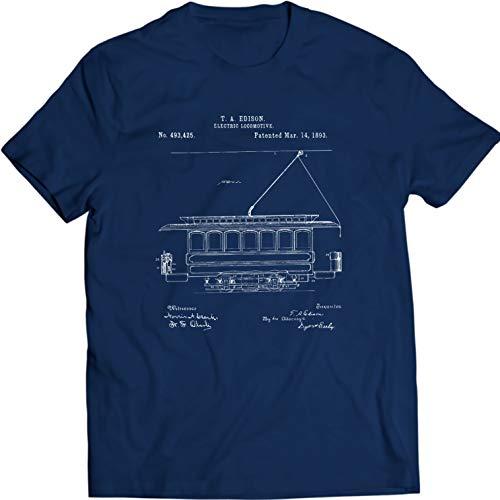 DTG Printing Edison Locomotora Eléctrica 1893 Camiseta (M, Azul Marino)