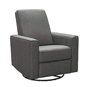 Abbyson Living Fabric Upholstered Nursery Swivel Glider Reclining Armchair, Grey