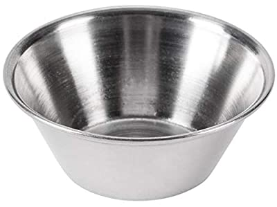 Individual Condiment Sauce Cups and Dish Scraper, Stainless Steel - 1.5 Ounce