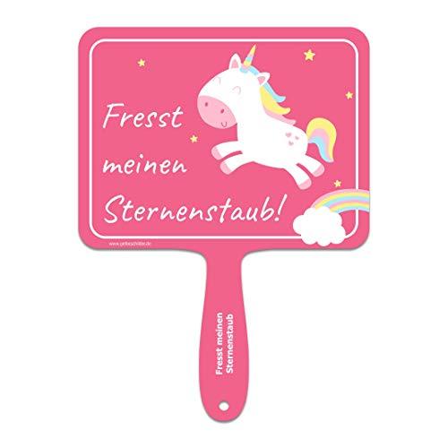 ARTICOO  Fresst Meinen Sternenstaub Einhorn-Schild mit Spruch für Büro, Karneval, Selfies | Witzige Geschenkidee oder lustiges Geburtstagsgeschenk für Beste Freundin, Mädels | Scherzartikel