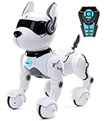 Top Race Voice Controlled and Remote Control Smart Robot Dog Personal puppy pet, robot for kids Ages 3,4,5,6,7,8,9 and up. 12 Voice Directives, Imitates 10 Animal Forms, 7 Function Remote Control Robot toy for kids. SINGING DANCING: Dances with Music...