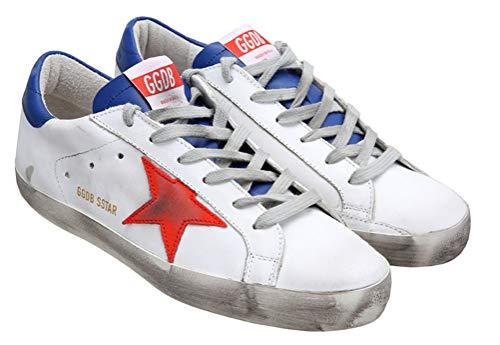 VCEGGDB Scarpe da ginnastica da donna casual antiscivolo Cozy GGDB in pelle scarpe basse, (Rosso e blu), 36.5 EU