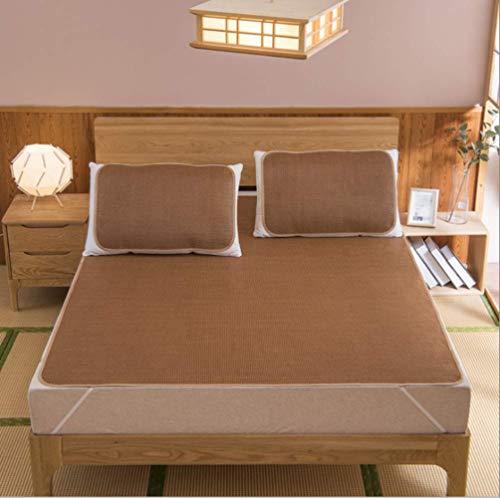 NOBRAND WHSG zomermat 3-delig antislip opvouwbaar tweepersoonsbed rotan mat zomer beddengoed stromat maat 180 * 200 cm