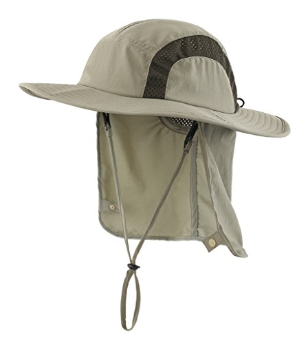 Home Prefer Kids Fishing Hat with Neck Protection Lightweight Mesh Sun Hat Outback Hat with Chin Cord Army Green