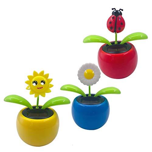 B Blesiya 3pcs Solar Wackelfigur Wackelblume Tanzende Blume Solarbetrieben Solarfigur Auto Wohnkultur Dekoration