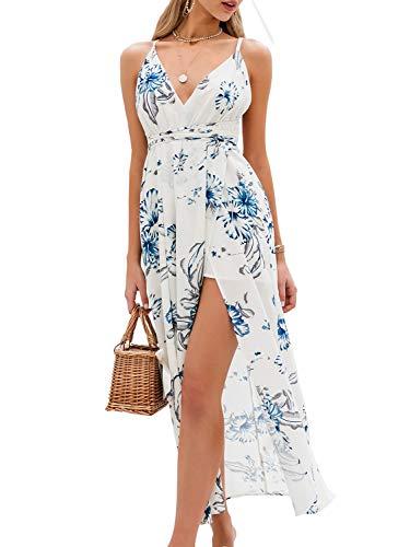 BerryGo Women's Sexy Deep V Neck Backless Floral Print Split Maxi Party Dress White