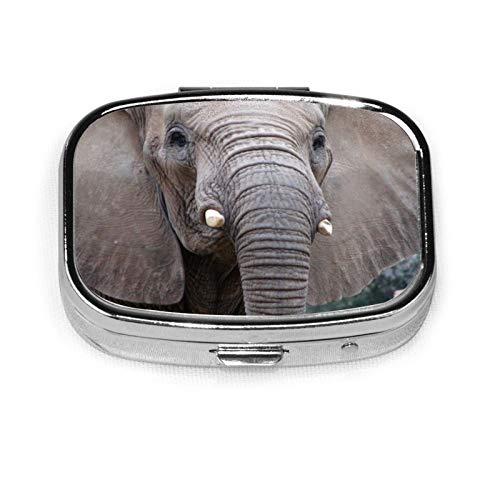 Elefante, caja de metal con pastillero cuadrado de vidrio para tabletas de medicina occidental