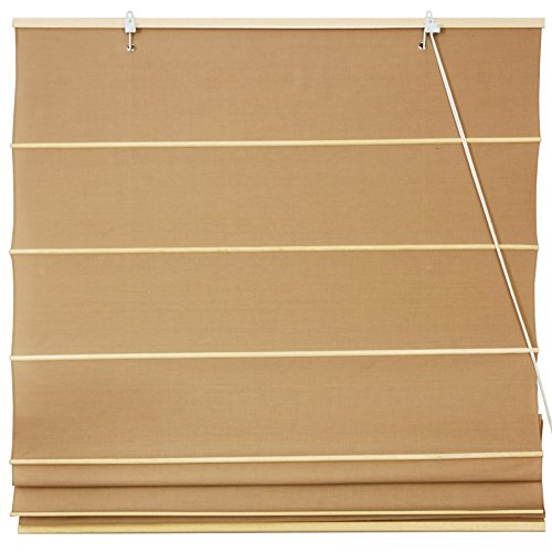 Oriental Furniture Cotton Roman Shades - Light Brown - (48 in. x 72 in.)