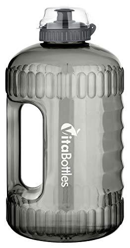 VitaBottles Gym Bottle Fitness Trinkflasche 2.2 Liter 2200ml XXL BPA-Free DHEP-Free schwarz Sport Water Jug Wasserkanister Water Gallon/Empfohlene Trinkmenge über den Tag