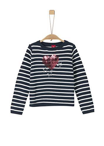 s.Oliver Mädchen 58.911.61.2239 Pullover, Blau (Blue Knitted Stripes 59G0), 92/98 (Herstellergröße:92/98/REG)