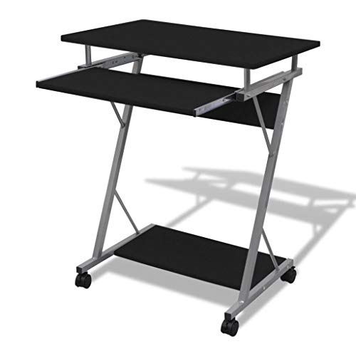 vidaXL Computer Desk Pull Out Tray Furniture Office Student Table Black