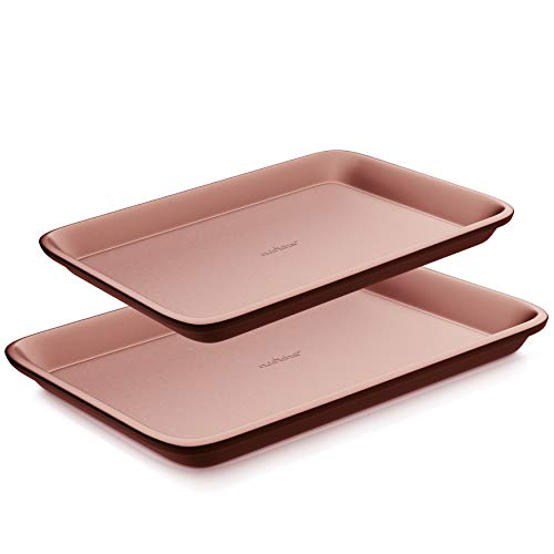 Nonstick Cookie Sheet Baking Pan - 2pc Large & Medium Metal Oven Baking Tray, Professional Quality Kitchen Cooking Non-Stick Bake Trays w/ Rimmed Borders, Guaranteed NOT to Warp - NutriChef NC2TRRG