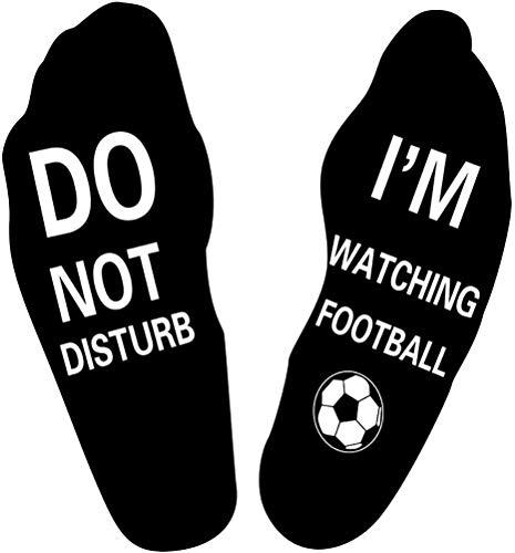 """Lustige Socken """"Do Not Disturb"""", """"I'm Watching Football"""", aus gekämmter Baumwolle, ideales Geschenk für Fußball- und Rugby-Liebhaber Gr. Einheitsgröße, Fußball - Schwarz"""
