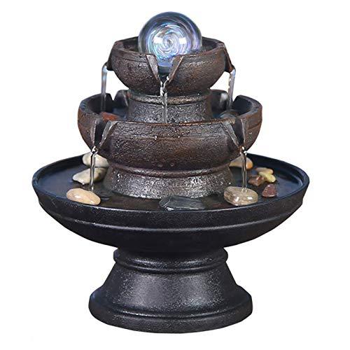 Statues Fontaine d'Eau résine,Décoration d'intérieur fengshui Humidificateur de Fontaine Décoration de Fontaine de Bureau Fontaine d'intérieur ou extérieur Cascade de Bureau-A 9.3pouce