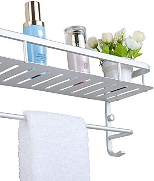 Chrasy Modern Aluminum Double Layer Towel Bar Wall Mount Bathroom Storage And One Towel Bar Bathroom Shelves With 2 Hooks Towel Holders Bath Towel Rack Bath Kitchen Storage Shelf 40cm 15 7in