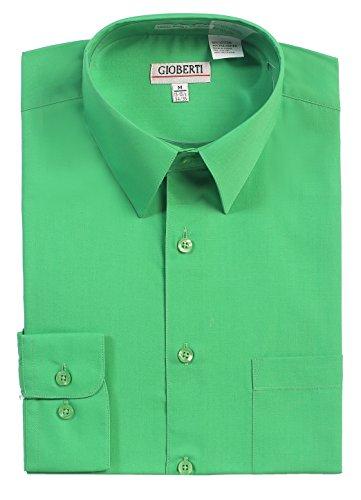 Gioberti Men's Long Sleeve Solid Dress Shirt, Green, Medium, Sleeve 33-34