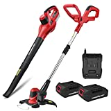 PowerSmart PS76115A 20V Lithium-Ion Cordless String Trimmer/Edger and Blower Combo Kit (Include Two Battery and Charger)