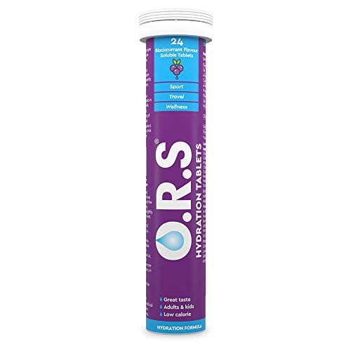 O.R.S Hydration Tablets with Electrolytes, Vegan, Gluten and Lactose Free Formula – Natural Blackcurrant Flavour, 24 Tablets