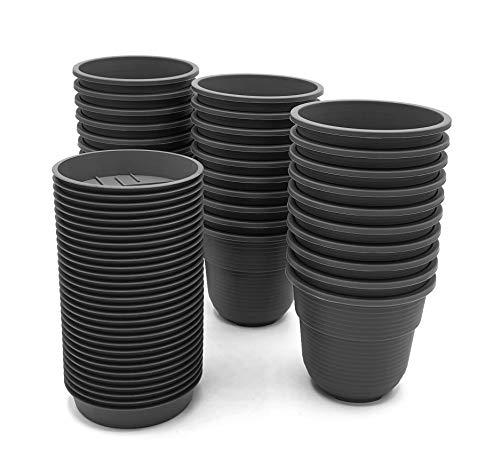 Anzuchttöpfe 8 cm Durchmesser 30 Stück mit Untersetzer Farbe: Anthrazit, Kunststoff Pflanztopf aus witterungsbeständigen Material, runde Saattöpfe