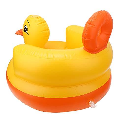 Silla de bebé inflable, taburete de baño para bebé, asiento trasero de seguridad, 50 x 50 x 50 cm para bebés que juegan a comer, bañarse(Round bottom yellow)