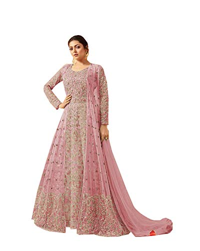 Delisa Indian/Pakistani Bollywood Party Wear Long Anarkali Gown for Womens LT New (Light Pink, SMALL-38)